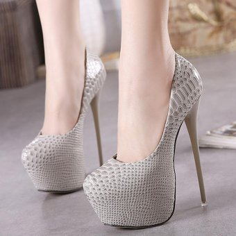 Women's Round Toe Platform Shoes Sexy Party High Heels Apricot - intl