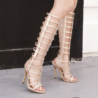 Women's Stiletto Sandals European High Heels with Cut Out Apricot
