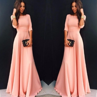 Womens Long Chiffon 3/4 Sleeve Evening Formal Party Prom Ball Gown Maxi Dress - intl
