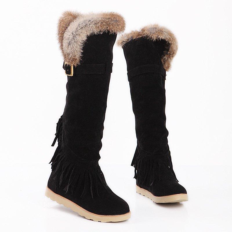 Womens Long Snow Boots Knee Flat Boots Black   Lazada PH