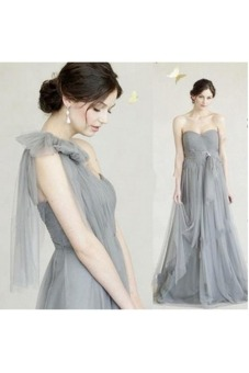 Womens Sexy Long Chiffon Gown Party Cocktail Bridesmaid Prom Dress smoke Grey)