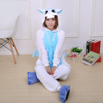 Yika Unicorn Adult Unisex Pajamas Cosplay Costume Onesie Sleepwear S-XL (Blue)