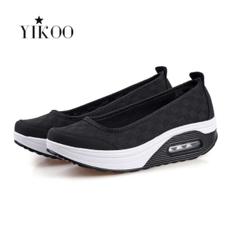 YIKOO Women Fahion Wedge Sneakers Breathable Sport Shoes (Black) -intl