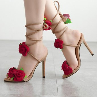 YingWei Women New Fine with Roman Cross Wind Belt Sexy BeachSandals Comfortable Roses Crossed High Heels(Apricot) - intl