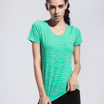 Yoga fitness short sleeved zebra pattern fitness clothing quick-drying I T-shirt (Green)
