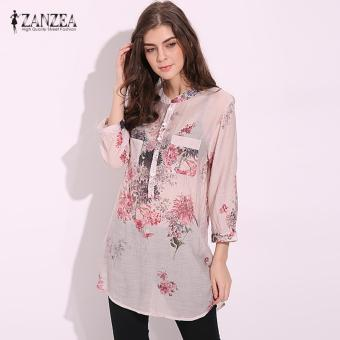 ZANZEA 2017 Blusas Fashion Casual Vintage Floral Printed Femininas Women Long Tops V Neck Button Linen Shirts Plus Size Blouses Red