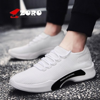 ZORO New Arrival Men Athletic Shoes Summer Running Shoes Men Trainers Black Blue Sport Sneakers Breathable Walking Jogging Shoes Kasut Lelaki (White) - intl