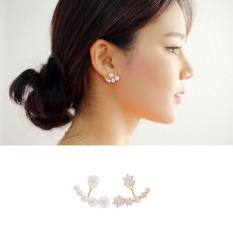 PHP 547 1 Pairs Gold-color Asymmetrical S925 Silver Stud Earring with Crystal and Pearls Women Fashion Jewelry ...
