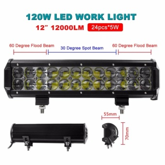 12 Inch OSRAM 120W LED Flood/Spot Combo Work Light Bar Offroad Driving 4WD Truck ATV   - intl