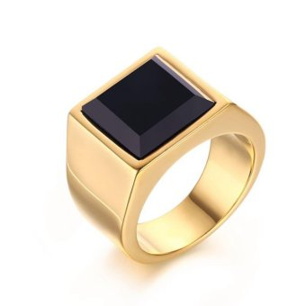 18K Gold Plated Stainless Steel Retro Black Onyx Men Domineering Ring Engagement Wedding Jewelry For Mens - intl