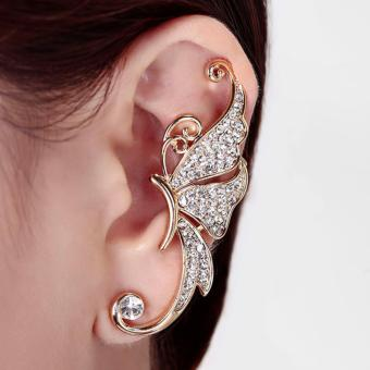 1pc Women's cute korean crystal Butterfly Wings Ear Clip Clamp wrap cuff Earring fashion jewelry FOR LETF EAR ONLY-White - intl
