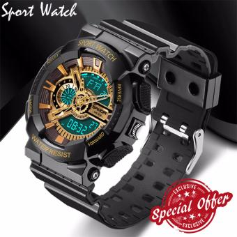2016 New Fashion Watch Men G Style Waterproof Sports Military Watches S Shock Fashion LED Digital Watch Men(black and gold)
