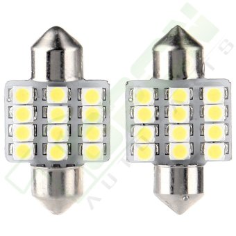 2Pcs 31mm 3528 12 SMD Bulb LED Interior Light For Car Door Dome Map Lamp (White)