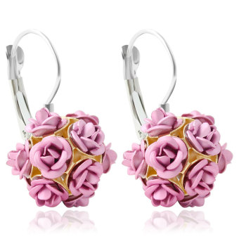 2pcs Flower Stereoscopic Rose earrings pink