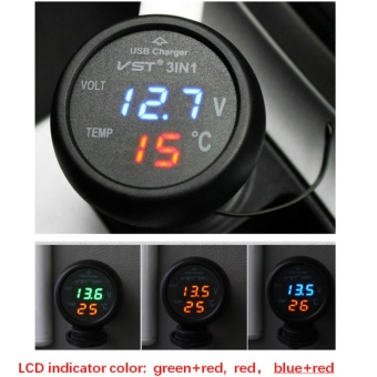 3 in 1 Dual Digital LED Car Multifunction Car Digital Voltmeter Thermometer USB Car Charger 3 in 1 for 12V/24V Multifunction Car Voltage Temp Meter (Black) - intl