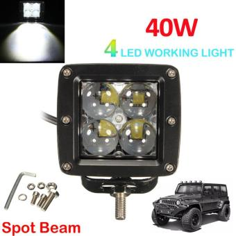 40W 4000LM 4 LED Work Light Fog Lamp for Motorcycle / Tractor / Boat / 4WD Offroad / SUV / ATV - intl