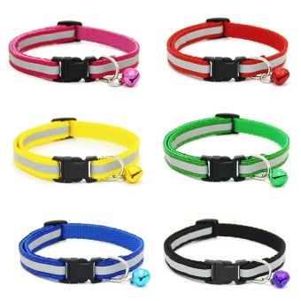 6 PCS 6 Colors Fashion Pet Dog Puppy Cat Collar Necklace Reflective Style Adjustable with Bell - intl