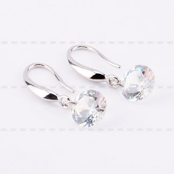 925Silver Plated Hook Crystal White Rhinestone Ear Earring Jewelry