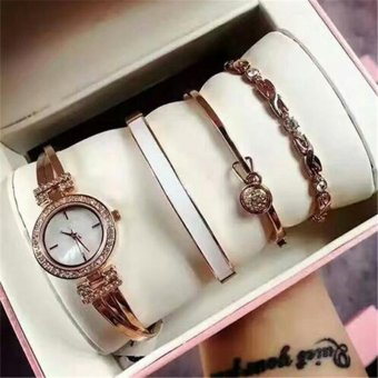 AK Watch Anne Four Sets of Clay Watch Fashion Bracelet Jewelly SuitWomen Watch For Girls Gift - intl