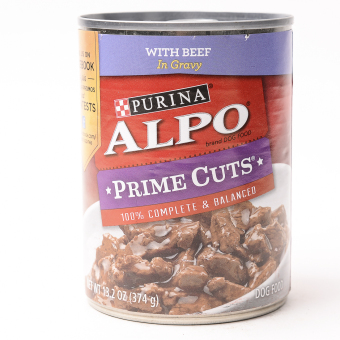 Alpo Prime Cuts Beef Adult Wet Can Dog Food 374g (6 cans / box)