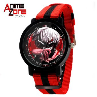 ANIME ZONE Tokyo Ghoul Anime Bloody Kaneki Ken Trendy Nylon StrapAnime Watch (Red /Black)