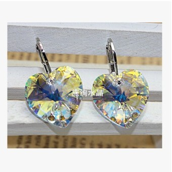 Austrian crystal buttons square ear clip crystal earrings