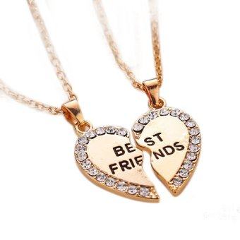 Best Friend Gift Heart Gold Silver Rhinestone 2 Pendants NecklaceBff Friendship Golden