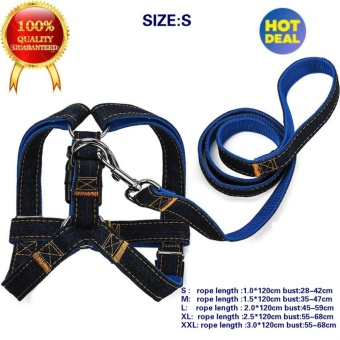 Best Quality Dog Leash Harness, Adjustable Denim Dog Leash forTraining Walking Running, Jean Denim Leash Harness Dog Collar ChainCat rope for Large/Medium/Small Dog Features S (blue) - intl