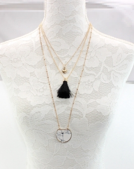 Black origional development three layer tassled necklace