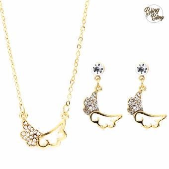 Bling Bling Angel's Wings Earrings and Necklace Jewelry Set (Gold)