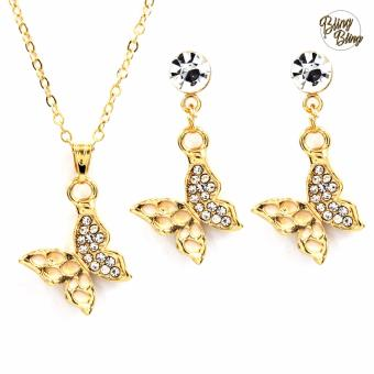 Bling Bling Butterfly Earrings and Necklace Jewelry Set (Gold)
