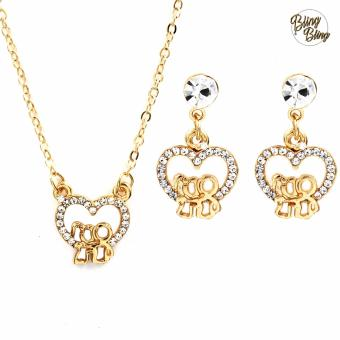 Bling Bling Couple Earrings and Necklace Jewelry Set (Gold)