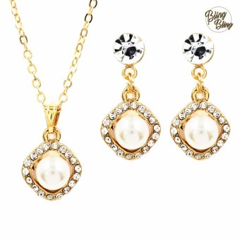 Bling Bling Fiona Earrings and Necklace Jewelry Set (Gold)