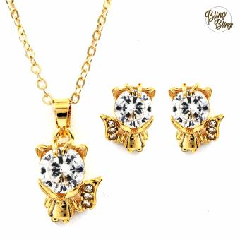 Bling Bling Little Fox Necklace with Earrings Jewelry Set (Gold)