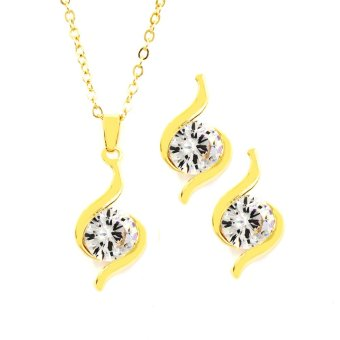 Bling Bling Millie Earrings and Necklace Jewelry Set (Gold)