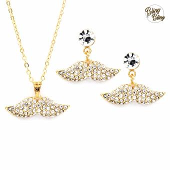 Bling Bling Mustach Earrings and Necklace Jewelry Set (Gold)