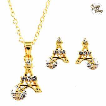 Bling Bling Paris Side Necklace with Earrings Jewelry Set (Gold)