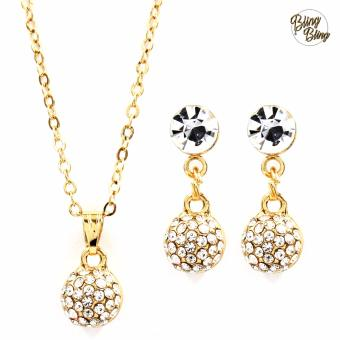 Bling Bling Round Earrings and Necklace Jewelry Set (Gold)