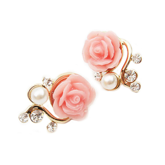 Cute Women's Girls Ladies Pearl Rose Flower Ear Stud Earrings StudPink (Intl)
