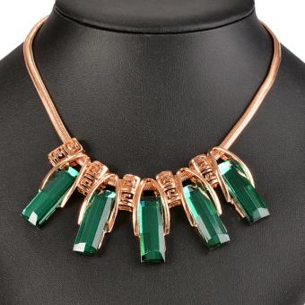 Cyber Women Retro Chain Pendant Necklace Green - picture 2