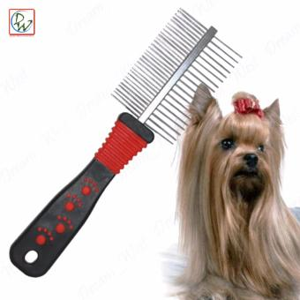 Double Sided Dog Comb Stainless Steel (Black/Red)