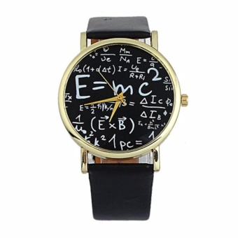 Equation Watch Black Dial Leather Strap - Black With Free Stainless Steel Mini Cross Stud Earring