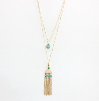 European and American style origional development blue tassled necklace