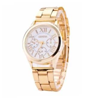 Geneva Gold/White Roman Numerals Wrist Watch