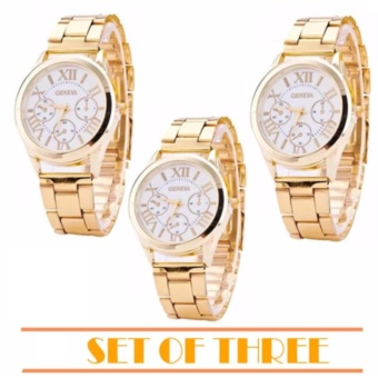 Geneva Gold/White Roman Numerals Wrist Watch Set of 3