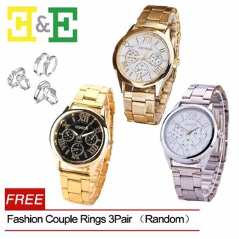 Geneva SY-3 Roman Numerals Women's Gold Steel-belt Watch(Random)With Free Fashion Couple Rings 3 Pair (Random)