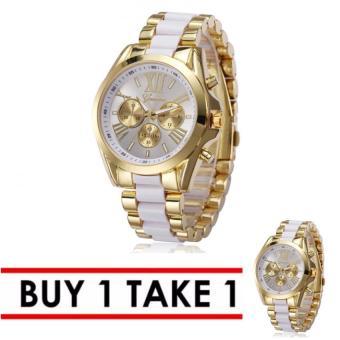 Geneva Three Eyes Strip Women's Two-Tone Stainless Steel Strap Watch 179 Buy 1 Take 1