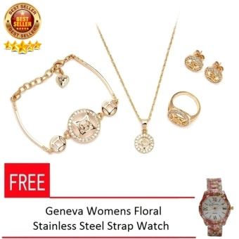 Glamorosa Diamond Sapphire Twilight Women's Gold Plated Metal Jewellery Set with FREE Geneva Womens Floral Stainless Steel Strap Watch