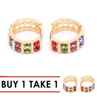 Glamorosa Multi Gemstone Infused Hoop Earrings (Gold) Buy 1 Take 1