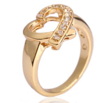 Glisten Heart Finger Ring Diamante Jewelry 18K Gold Fil ...